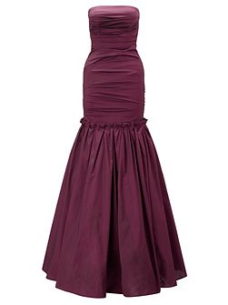 Burgundy marilea strapless long gown