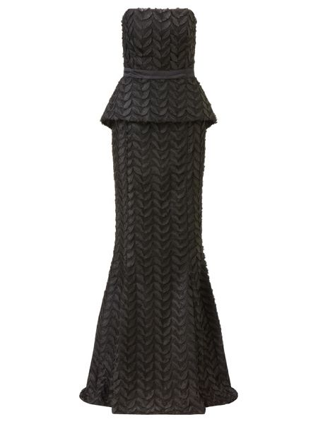 Ariella Black stella leaf design evening dress