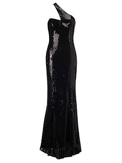 Black angelina long sequin dress
