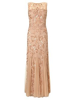 Karla sequin & beaded evening gown