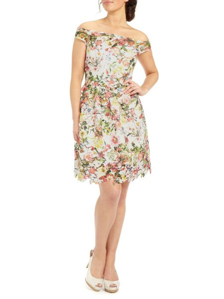Ariella Cece Printed Lace Fit Flare Short Dress