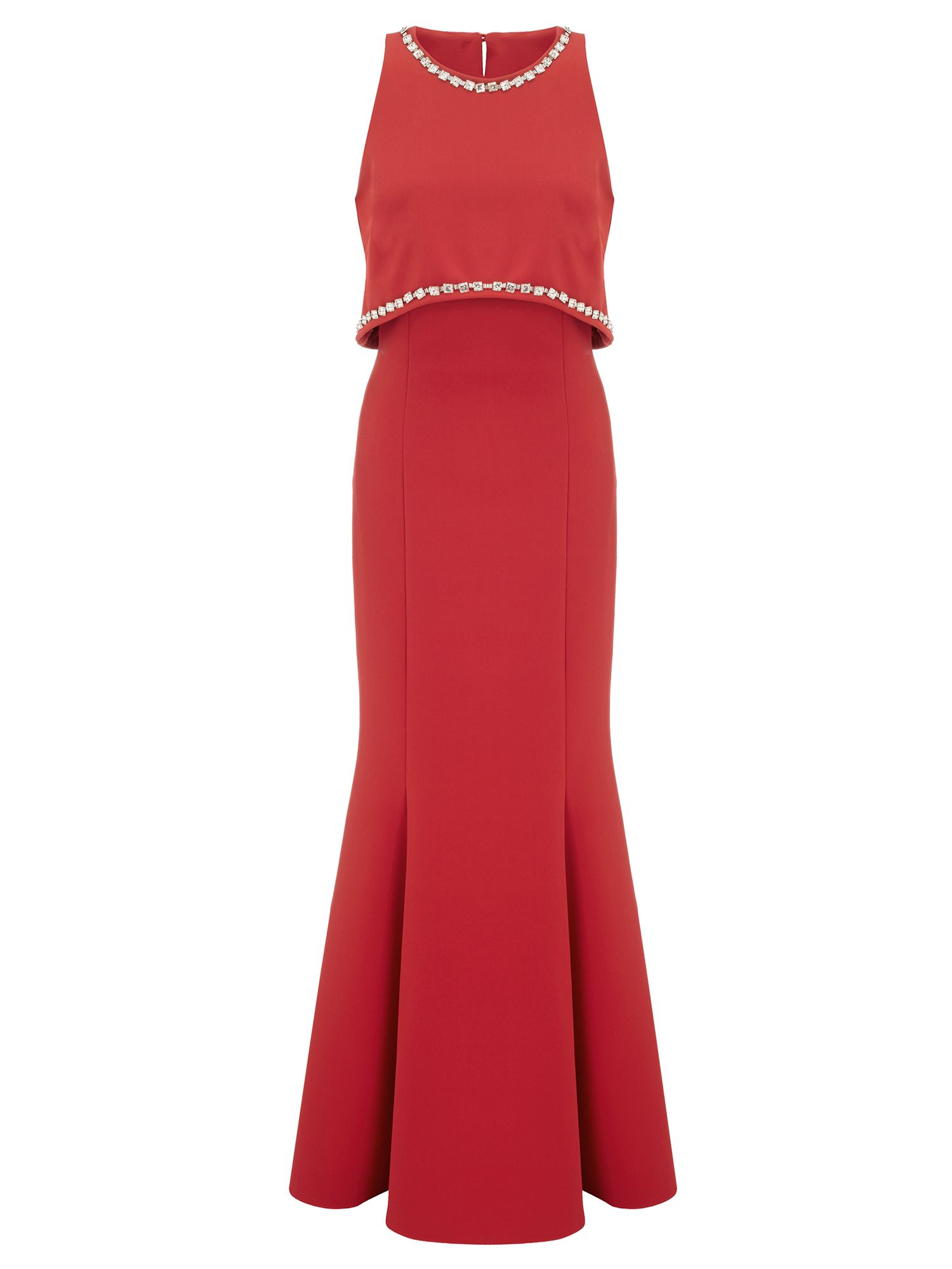 Ariella Naya Crop Top Design Beaded Dress, Red