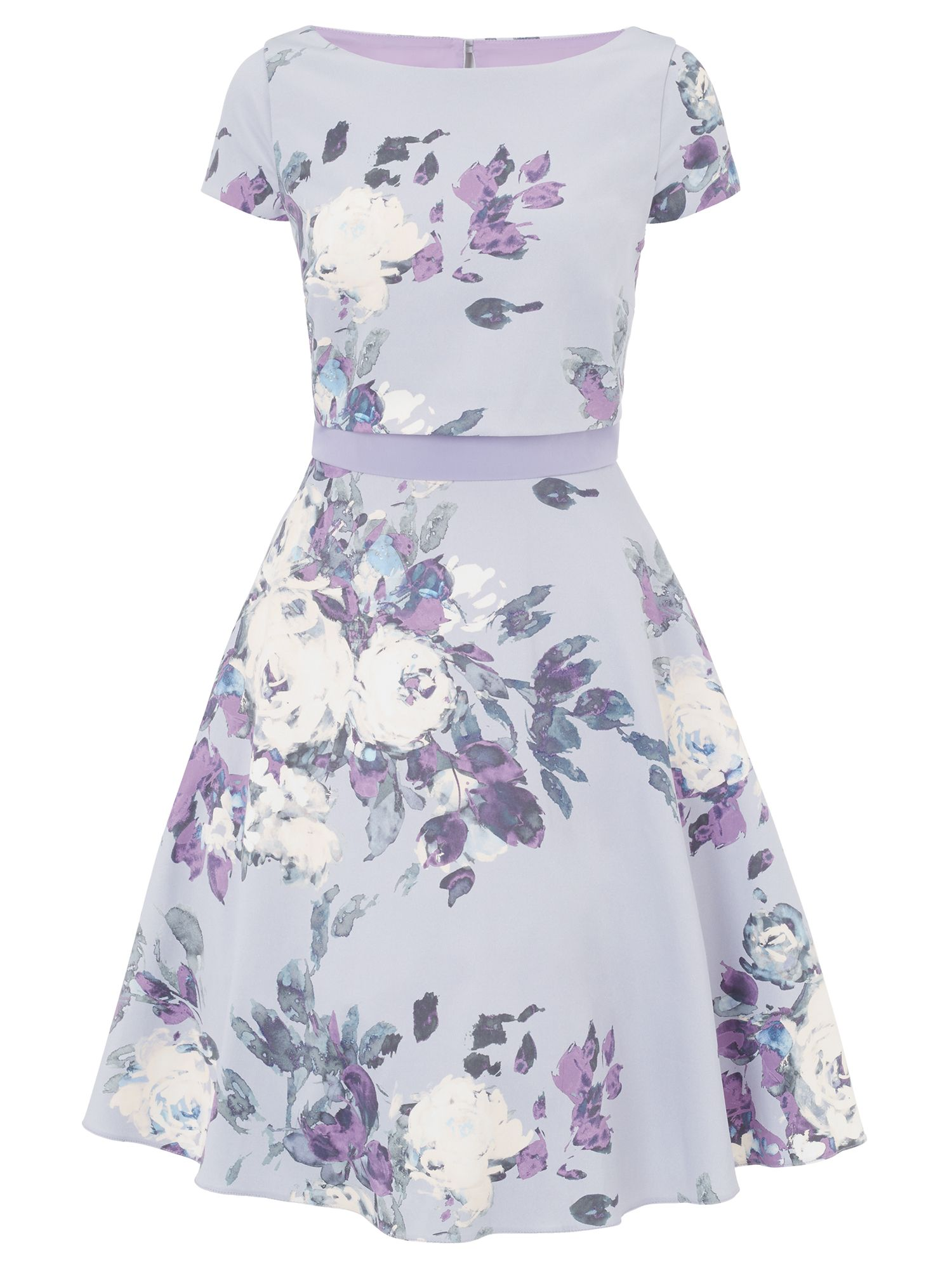 Ariella Melody Box Top Printed Short Dress, Lavender