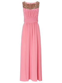 Beau Chiffon Long Dress with Neck Trim