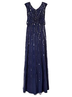 Petulia Blouson Beaded Maxi Dress