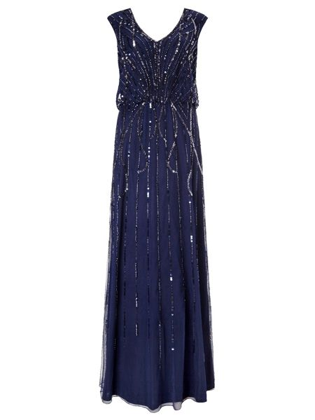 Ariella Petulia Blouson Beaded Maxi Dress