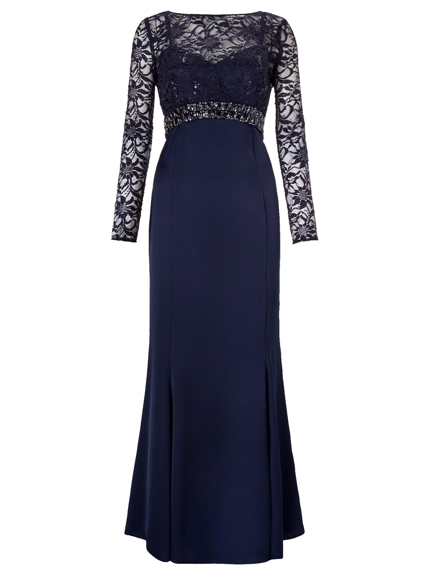 Ariella Sloane Maxi Dress With Lace Sleeves, Navy
