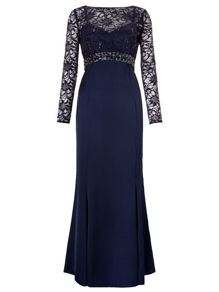 Ariella Sloane Maxi Dress With Lace Sleeves