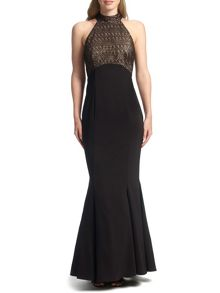 Ariella Imelda Halterneck Foiled Lace Dress