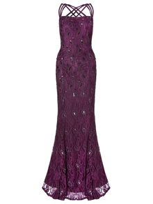 Ariella alana lace beaded triple strap gown