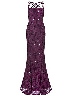alana lace beaded triple strap gown