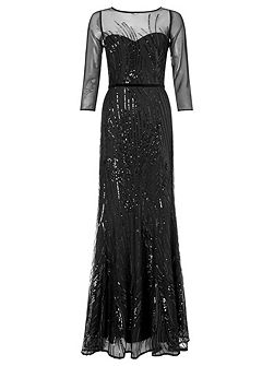 amia long sequin cocktail dress