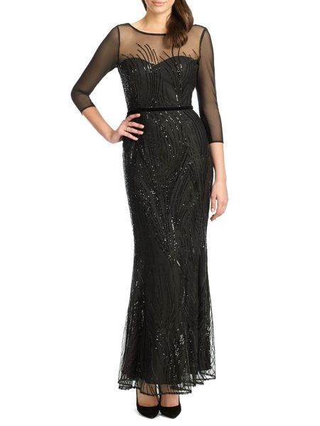 Ariella amia long sequin cocktail dress