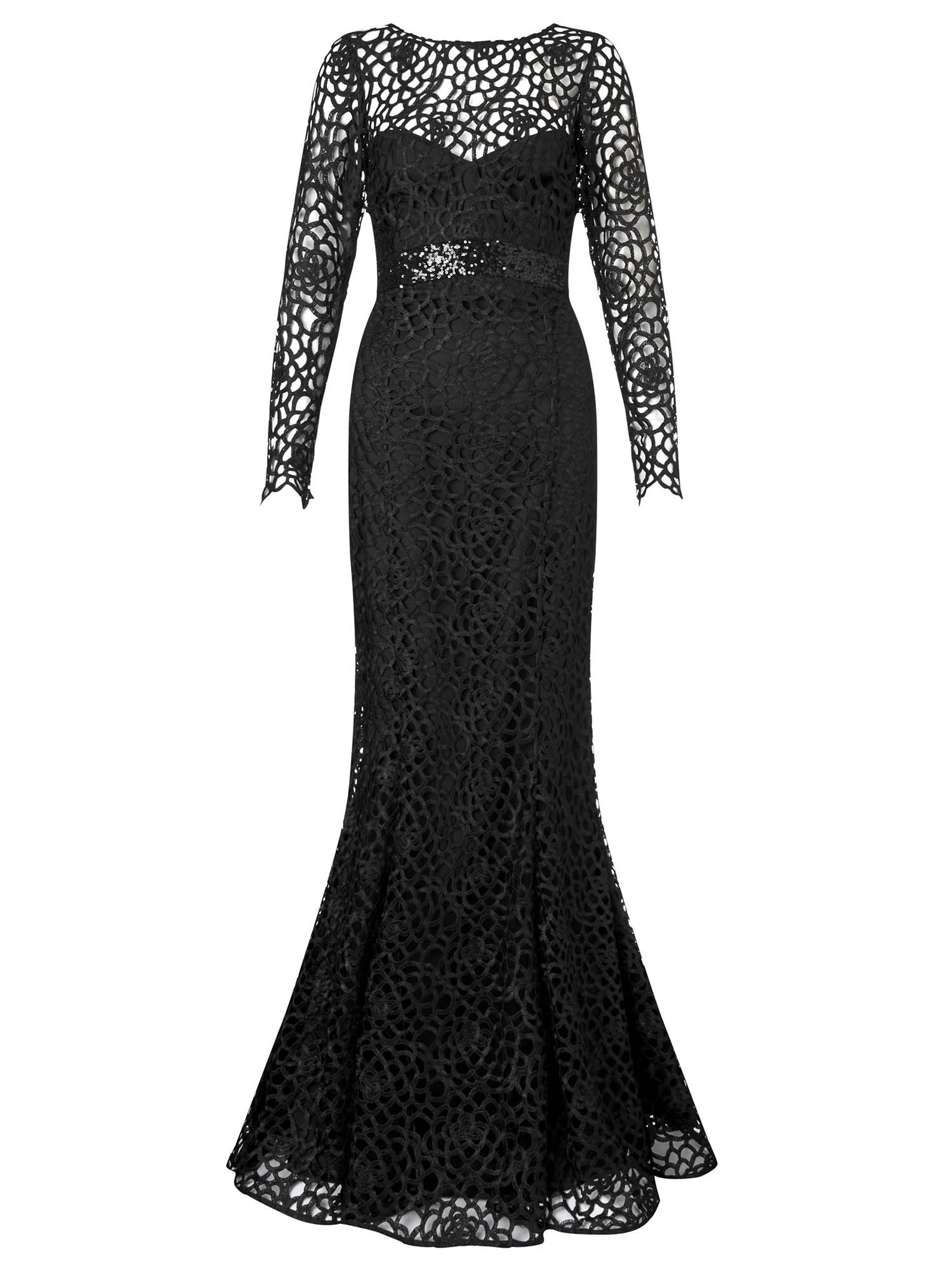 Ariella dakota longsleeve lace evening gown, Black