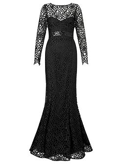 dakota longsleeve lace evening gown