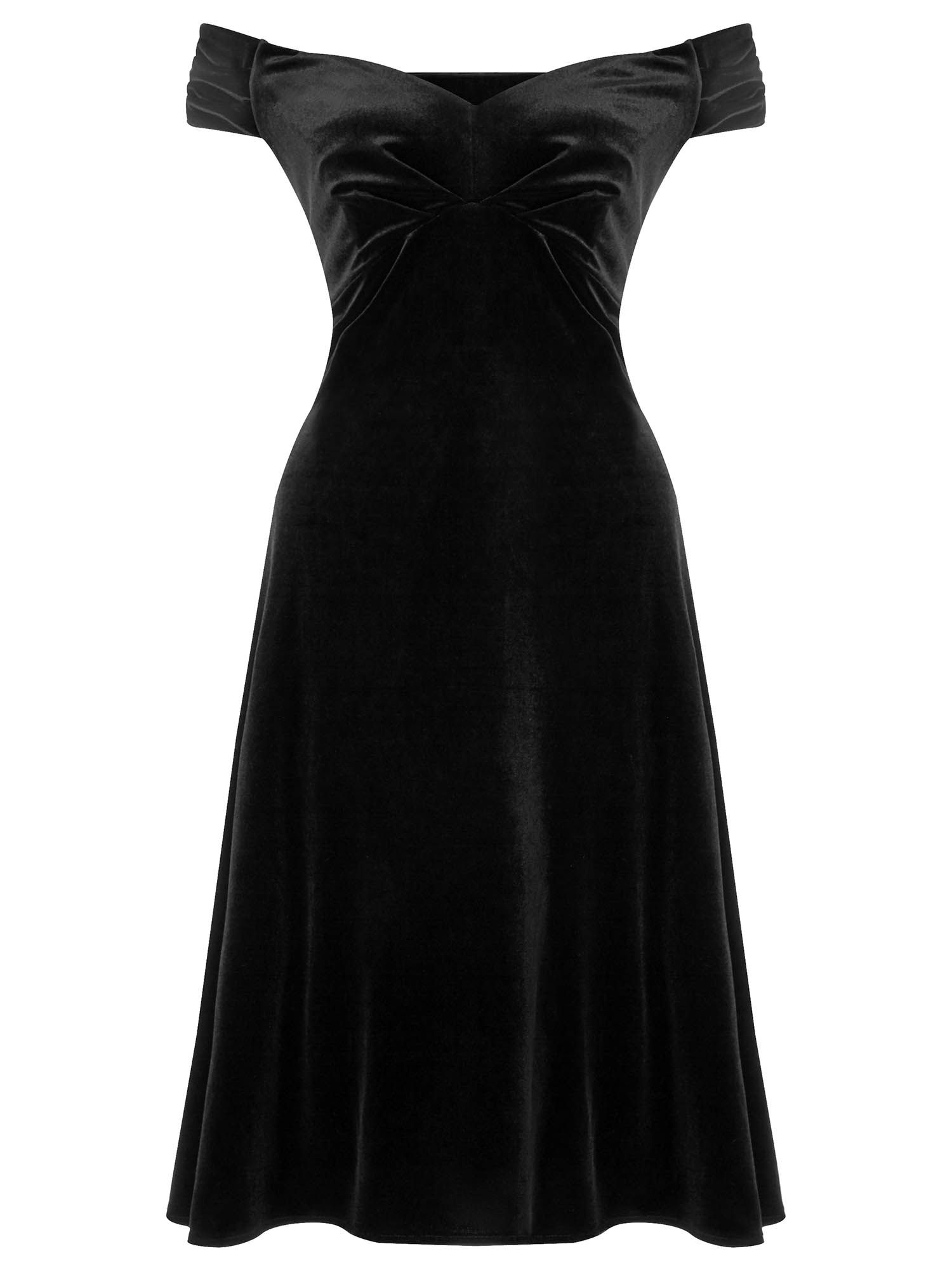 Ariella danna off the shoulder velvet dress, Black