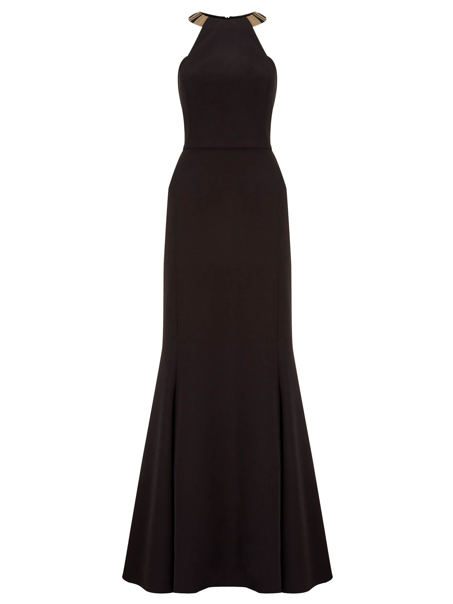 Ariella bianca gold neck trim long dress, Black