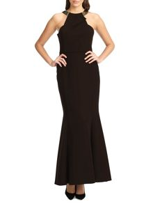Ariella bianca gold neck trim long dress