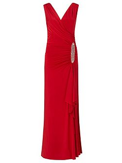 Celina jersey long dress with trim