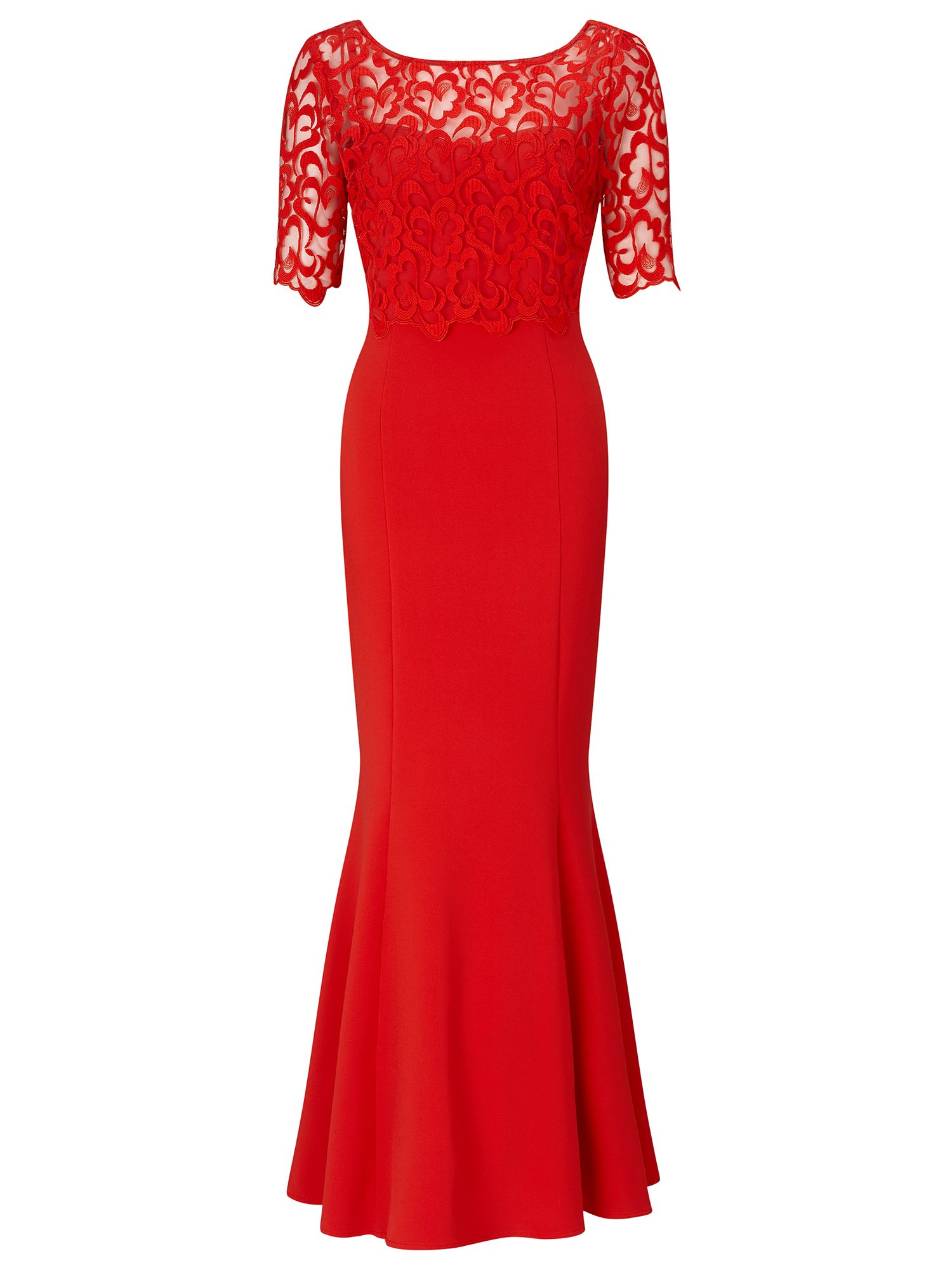 Ariella Seren lace crop overlay dress, Red