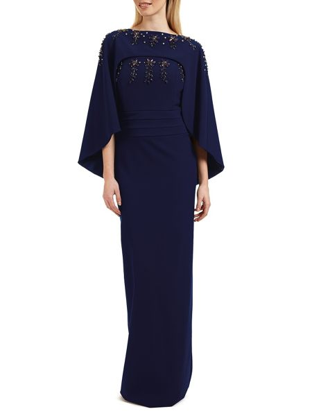 Ariella Olympia beaded dress detachable cape