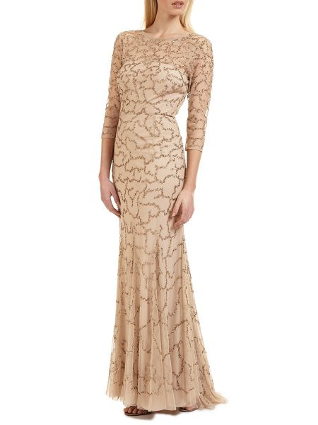 Ariella Indi long 3/4 slve beaded dress