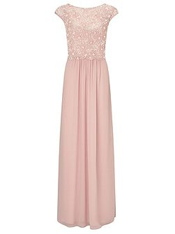 Amerie long dress with beaded overlay