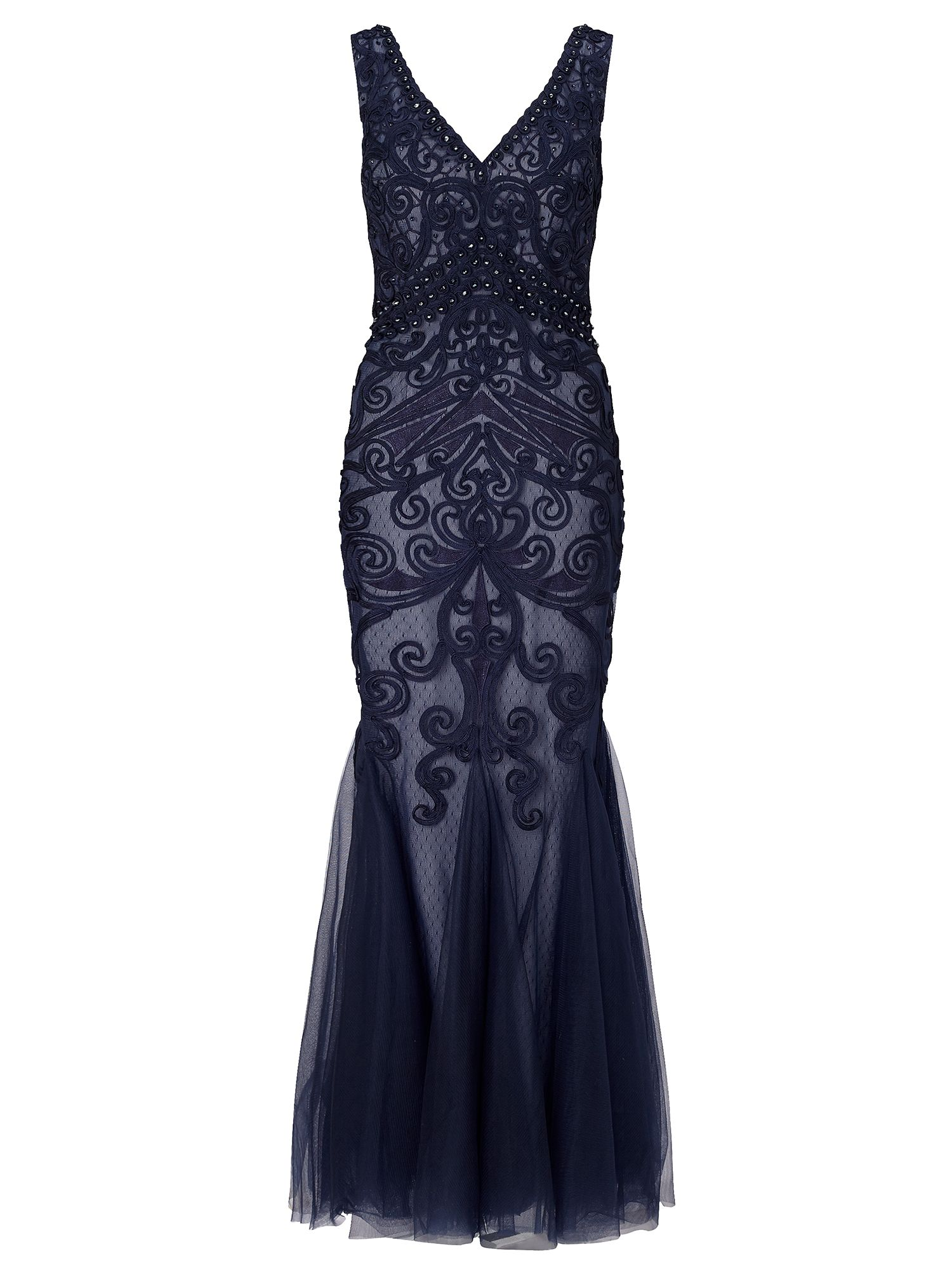 Buy Boardwalk Empire Inspired Dresses Ariella Dallas beaded mesh maxi with tapework Navy £395.00 AT vintagedancer.com