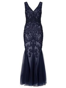 Ariella Dallas beaded mesh maxi with tapework