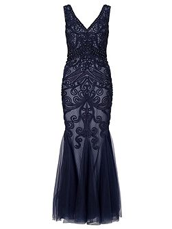 Dallas beaded mesh maxi with tapework