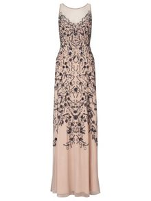 Ariella Eden beaded mesh dress