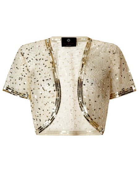Ariella Vera sequin and beaded bolero