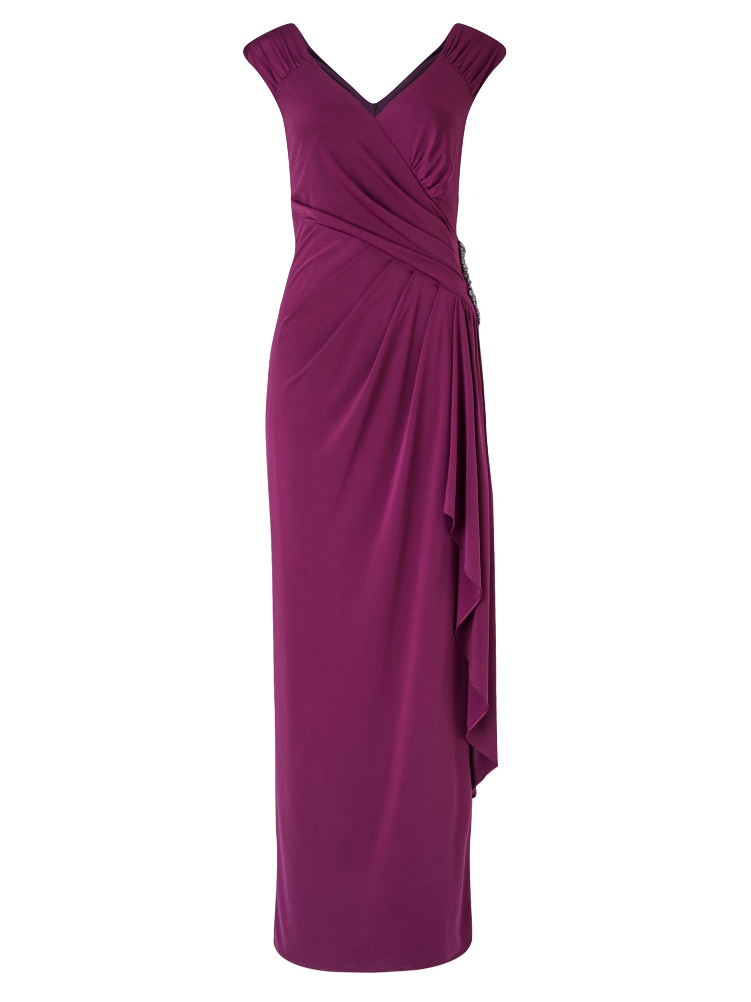 Ariella Ray Gathered Jersey Dress, Wine