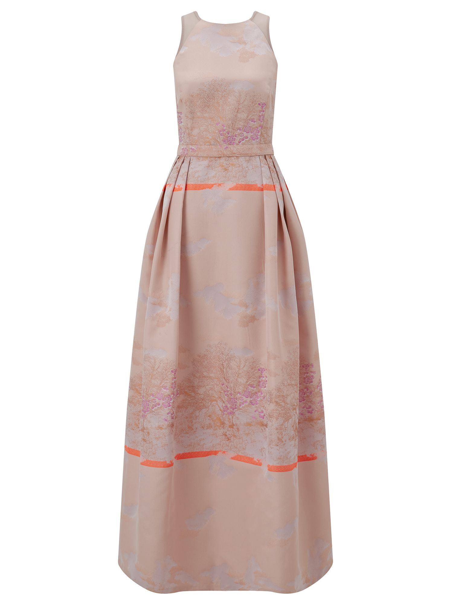 Ariella Couture Bevan Pink Jacquard Maxi Dress, Pink