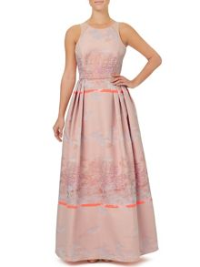 Ariella Couture Bevan Pink Jacquard Maxi Dress