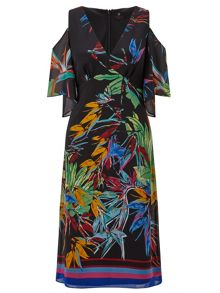 Ariella Breeze Printed Cold Shoulder Dress