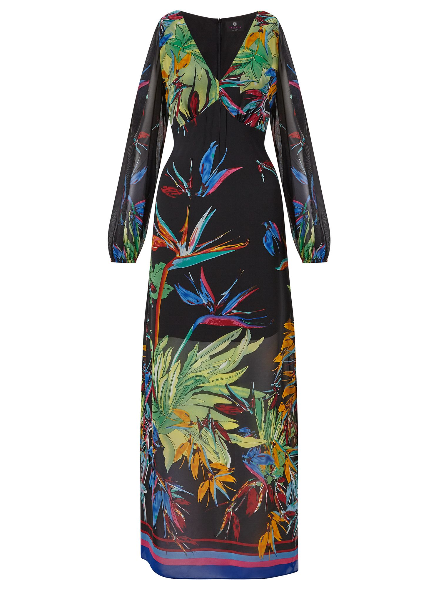 Ariella Rosey Slit Sleeve Maxi Dress, Multi-Coloured