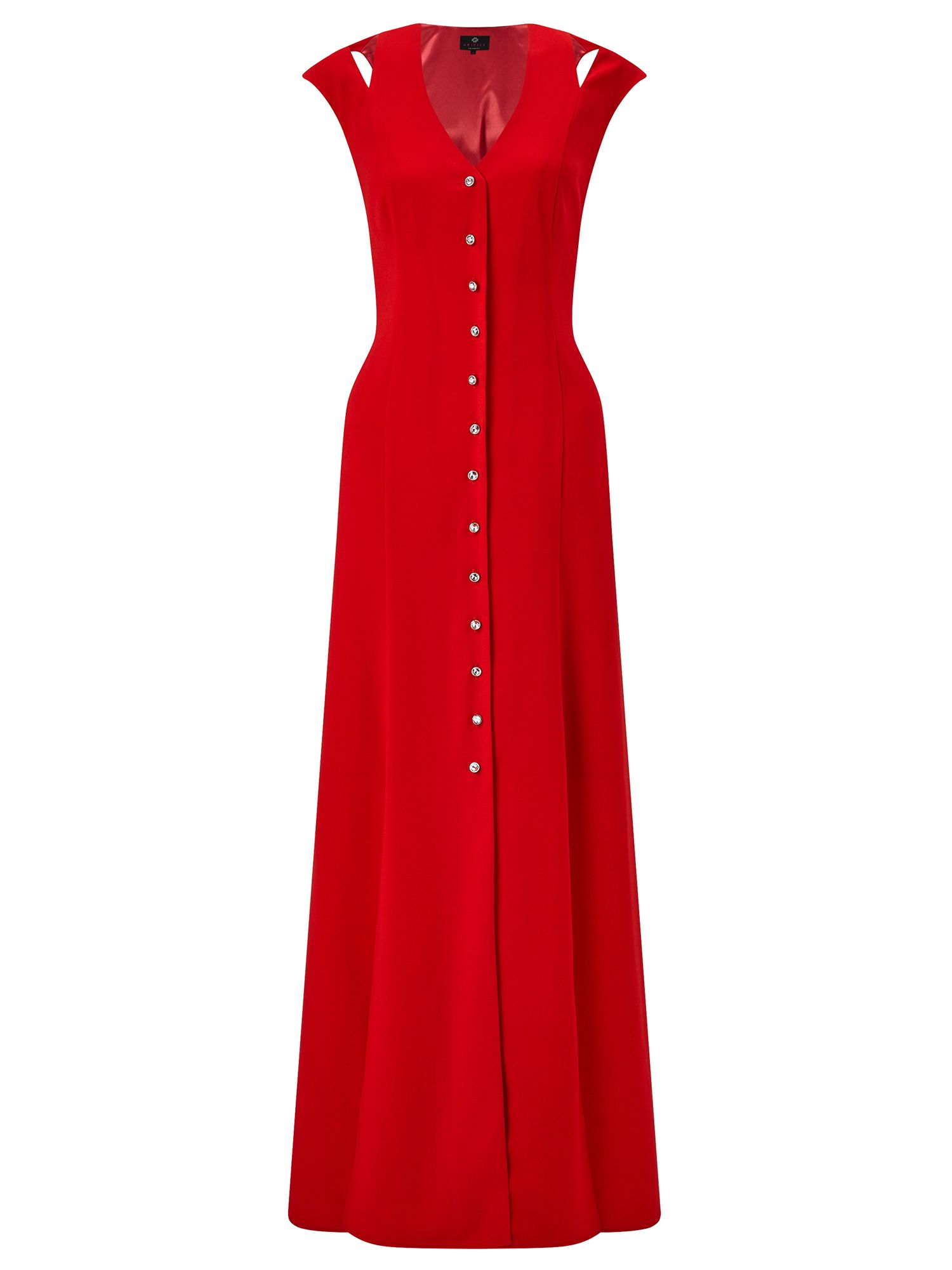 Ariella Flavia Button Front Maxi Dress, Red