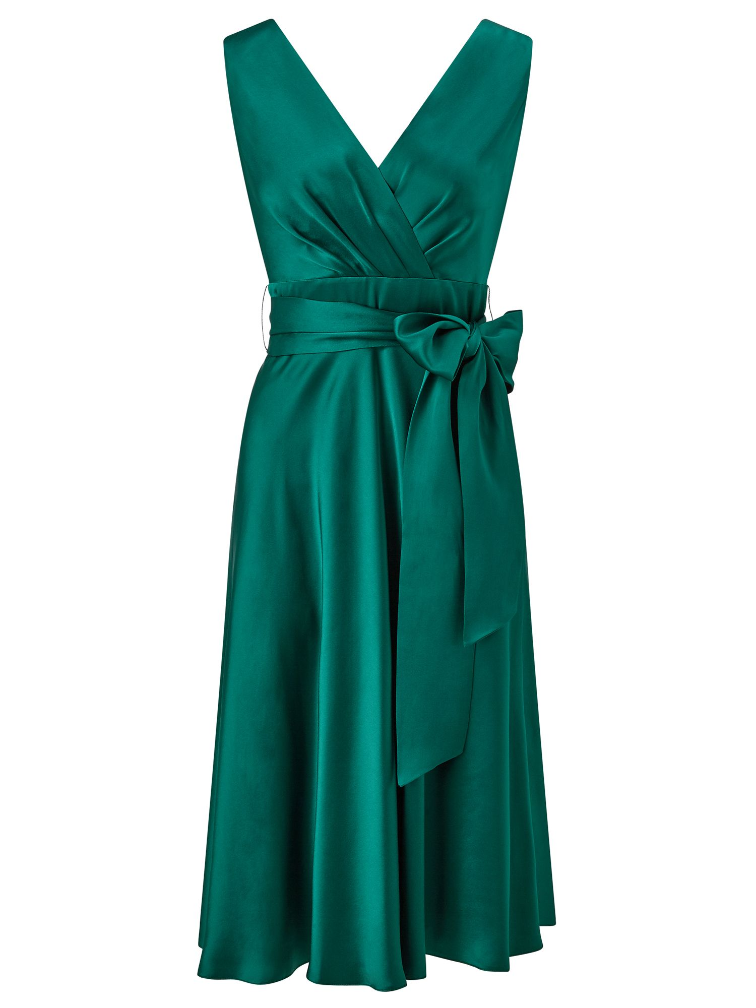 Ariella Belladonna Satin Fit and Flare Dress, Green