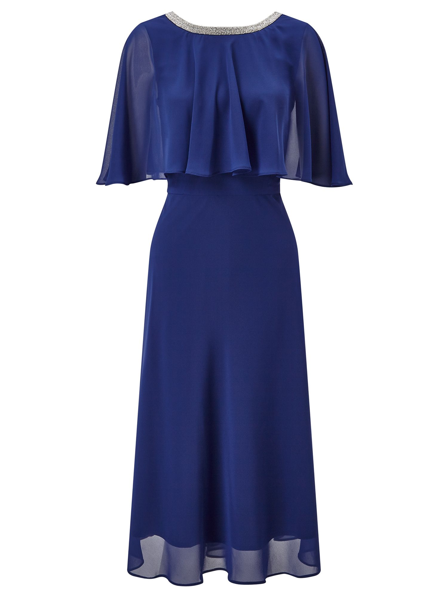 Ariella Harmony Chiffon Cape Flare Dress, Blue