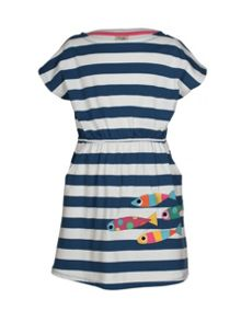 Frugi Organic Kids Girls Bryher Boat Neck Dress