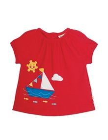 Frugi Organic Baby Girls Amelia Applique Top