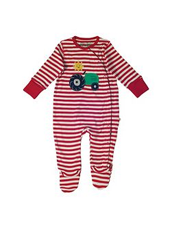 Baby Tractor-Print Cotton Babygrow