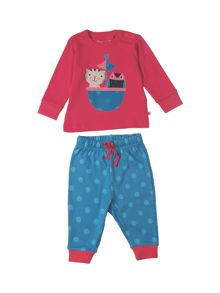 Frugi Organic Baby Girls Little Long John PJs