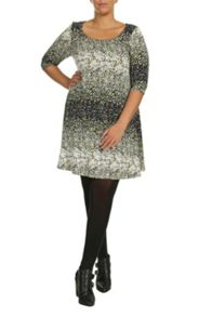 Plus Size Print 3/4 Sleeve Swing Dress