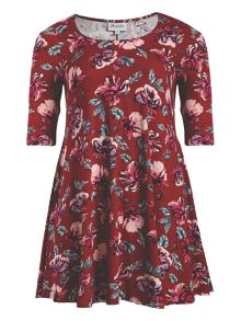 Print 3/4 Sleeve Swing Dress