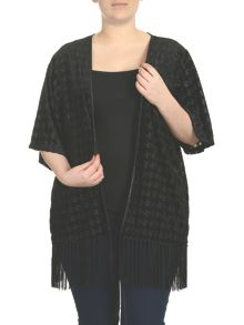 Threads Plus Size Dogtooth Velvet Kimono Jacket