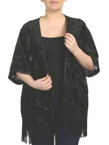 Threads Plus Size Baroque Velvet Kimono Jacket