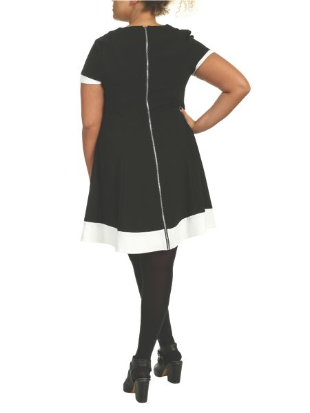 Threads Plus Size Swing Dress with Jacquard Panels