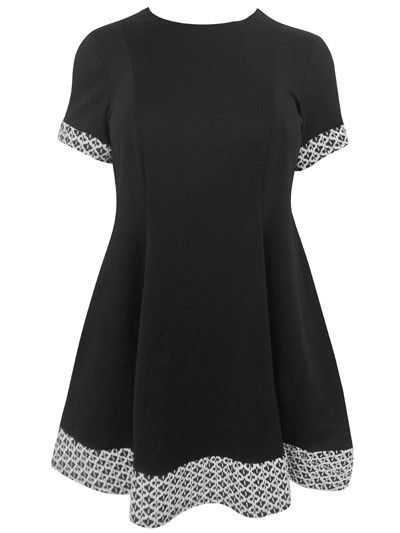 Threads Threads Plus Size Swing Dress with Jacquard Panels, Black